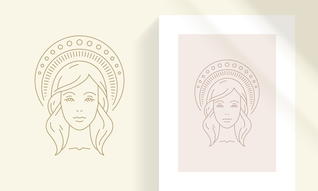 Frauenkopf mit himmlischer dekorativer kopfbedeckungsschattenbild-lineare illustration