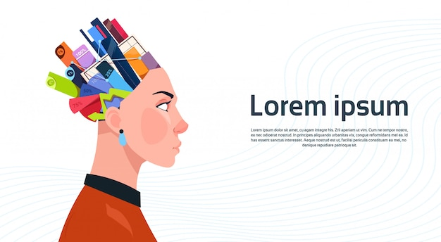 Frauenkopf mit kasten mit büro-material-digrammen und diagrammen mit prozenten auf weißem hintergrund mit kopienraum