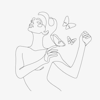 Frauenkopf mit schmetterlingskomposition