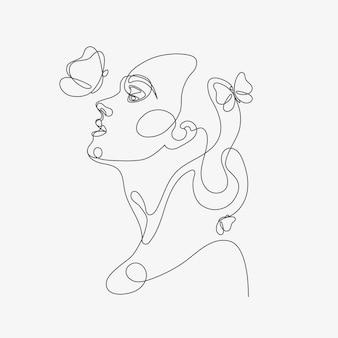 Frauenkopf mit schmetterlingszusammensetzung handgezeichnete lineart-illustration one line-stil-zeichnung