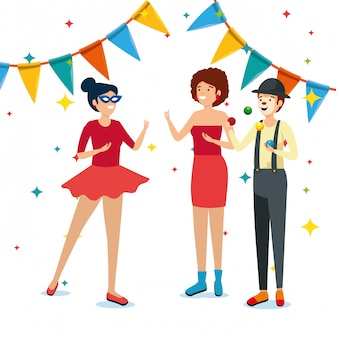 Frauenkostüm mit pantomime und partyfahne zum festival