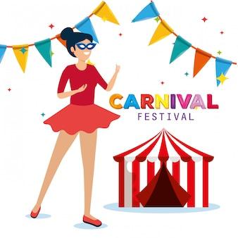 Frauenkostüm mit zirkus- und partyfahne