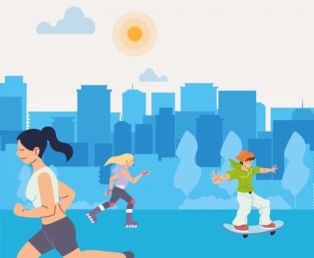 Frauenlauf und leute am stadtdesign, bleiben gesunder sport und outdoor-aktivität