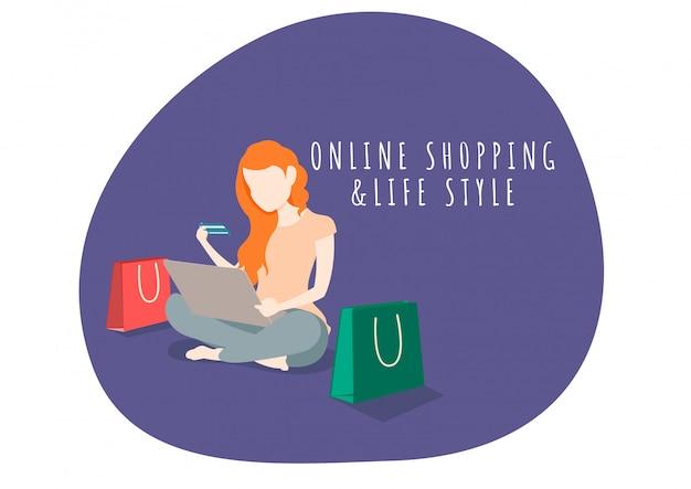 Frauenlebensstilcharakter, der online mit laptop einkauft.