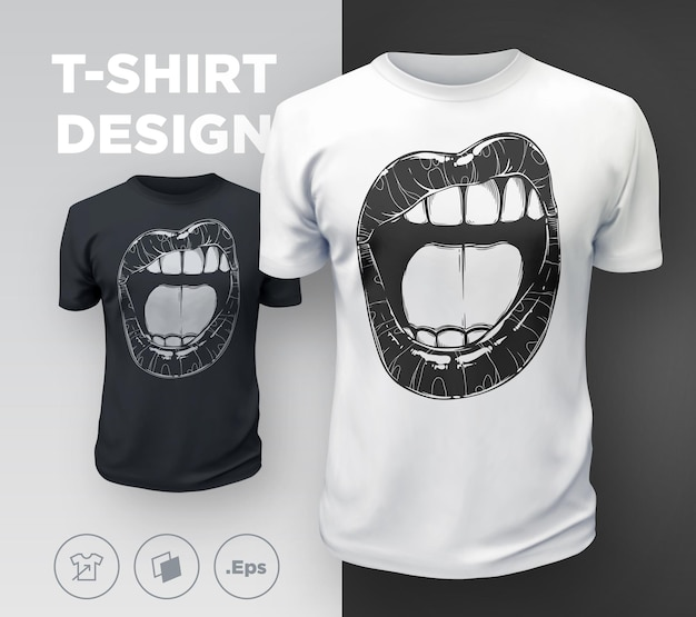 Frauenlippen-t-shirt-druck. sexy mund des schwarzweiss-mädchens hautnah. vektor-illustration