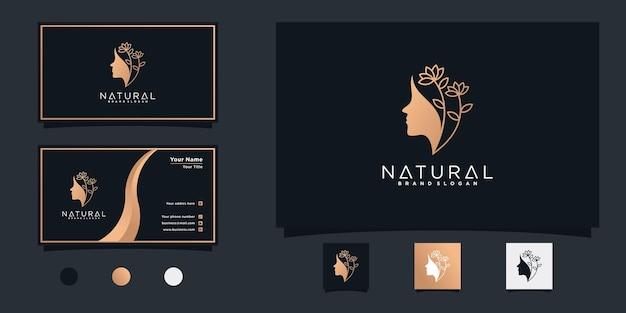 Frauenlogo mit kombiniertem blatt- und gesichtskonzept der natürlichen schönheit und visitenkartendesign premium-vektor