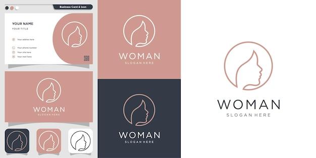 Frauenlogo mit modernem minimalistischem linienkunstkonzept premium-vektor