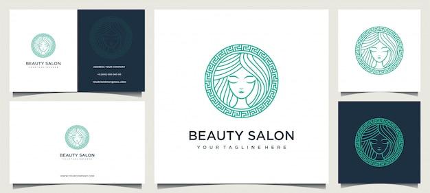 Frauenlogodesign mit eleganter visitenkarte