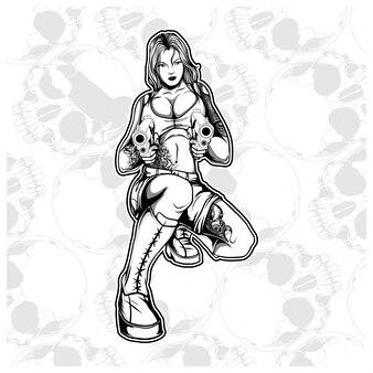 Frauenmafia banditgangster, der gewehrvektor behandelt
