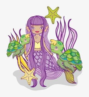 Frauenmeerjungfrau mit schildkröten und sternen in den anlagen