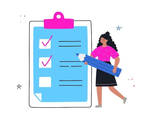Frauenplanungsmonat, to-do-liste, zeitmanagement. mädchen steht mit bleistift in der nähe von liste zu tun. flache handgezeichnete vektor-illustration.