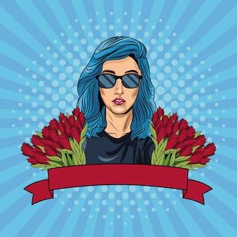 Frauenpop-art mit bandfahne und -blumen