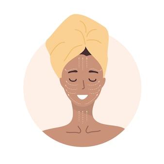 Frauenporträt mit lymphatischem massageschema