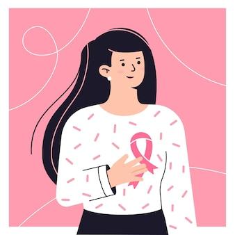 Frauenporträt mit rosafarbenem band brustkrebszeichen brustkrebsbewusstseinskonzept