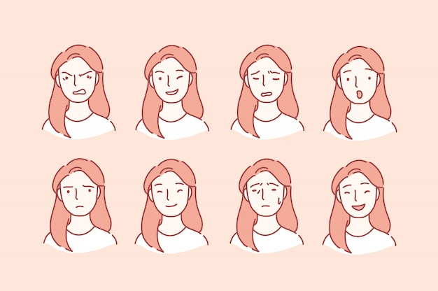 Frauenporträt mit verschiedenen gesichtsausdrücken.
