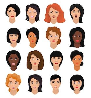 Frauenporträtvektor weibliches charaktergesicht des mädchens mit frisur und karikaturperson mit verschiedenen hauttonillustrationssatz der schönen gesichtsmerkmale lokalisiert auf weißem raum