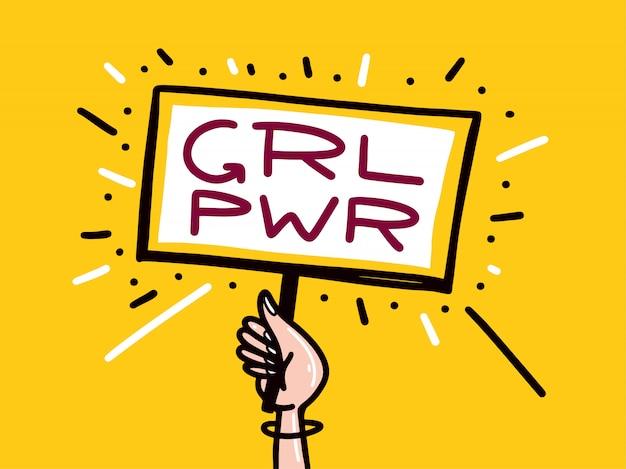 Frauenpower. auf gelbem hintergrund isoliert.