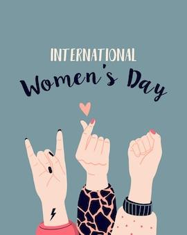 Frauenpower, feminismus und konzept zum internationalen frauentag. vektorillustration mit der hand der frau.