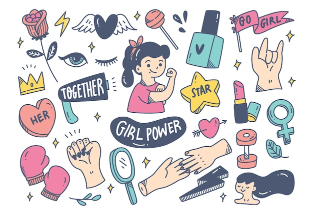 Frauenpower-konzept im doodle-stil