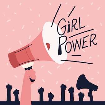 Frauenpower, megaphon hob die hände feminismus