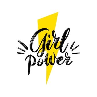Frauenpower. motivationssatz. feministisches handbeschriftungszitat mit symbol des blitzes