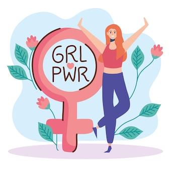 Frauenpower-schriftzug mit frauen- und geschlechtssymbolillustration