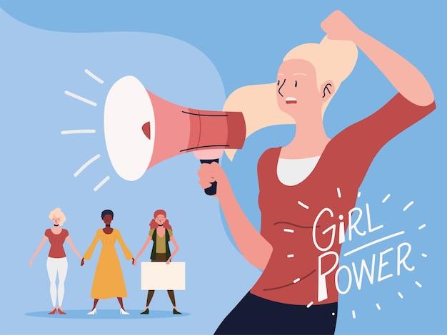 Frauenpower, weibliche bewegungspower ankündigung