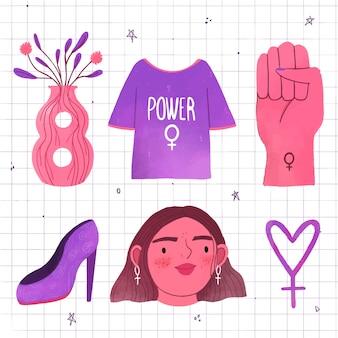 Frauenrecht mit weiblichem gesicht und accessoires