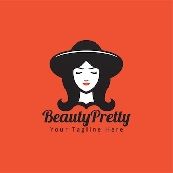 Frauenschönheitsgesicht mit hut und langen haaren in der schwarzen weißen silhouetteart-logoillustration