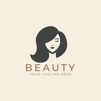 Frauenschönheitsgesicht mit langen haaren im schwarzen weißen weinleseschattenbild-logo