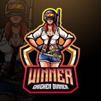 Frauenschützen-maskottchenlogo für elektronisches sportspiellogo