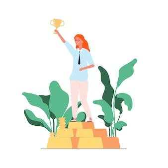 Frauensiegerin. geschäftsfrau auf sockel mit goldener tasse.