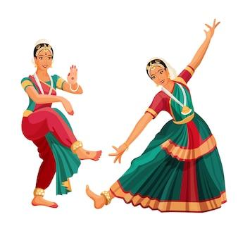 Frauentänzer im nationalen indischen stoff, der volkstanz des bharatanatyam tanzt