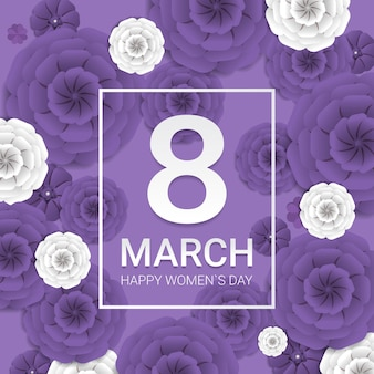 Frauentag 8 märz feiertagsfeier banner flyer oder grußkarte mit dekorativen papierblumen 3d rendering illustration