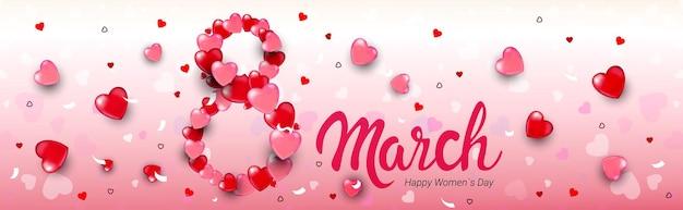 Frauentag 8 märz feiertagsfeier banner flyer oder grußkarte mit herzen horizontale illustration