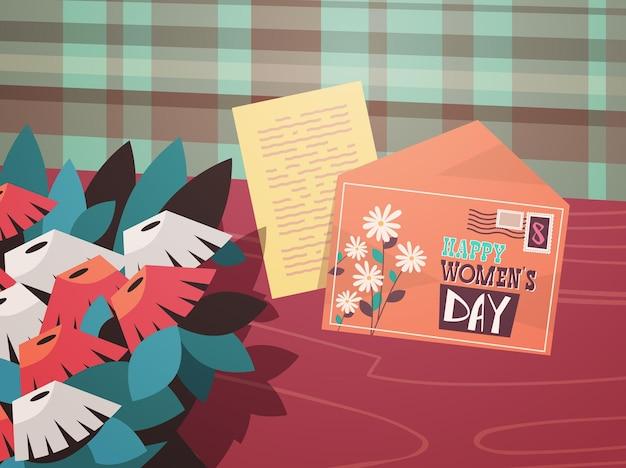 Frauentag 8 märz feiertagsfeier konzept brief briefumschlag blumen auf holz schreibtisch top winkel ansicht horizontale illustration