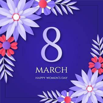 Frauentag 8. märz im papierstil