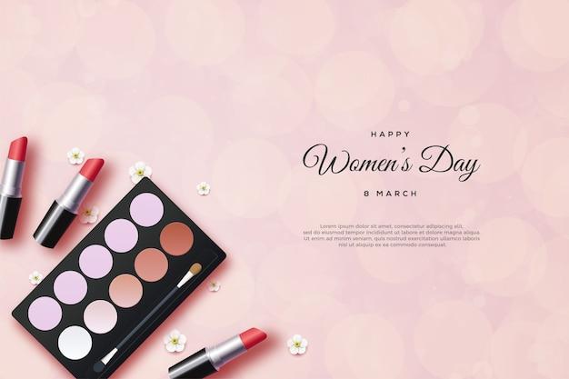 Frauentag hintergrund mit make-up ausrüstung.