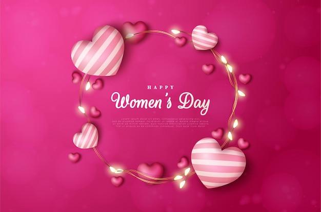 Frauentag mit einer kreisförmigen liebesballonillustration.