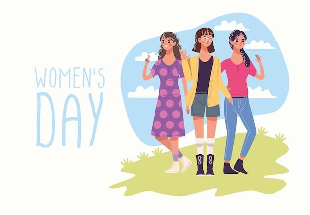Frauentag mit gruppe von drei jungen frauencharakterillustration