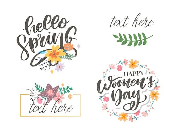 Frauentag und hallo frühlingstextentwurf mit blumen