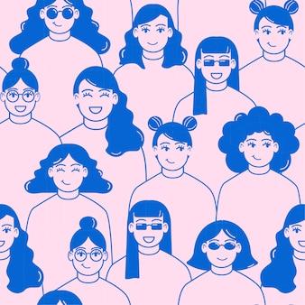 Frauentagesmuster mit frauengesichtern