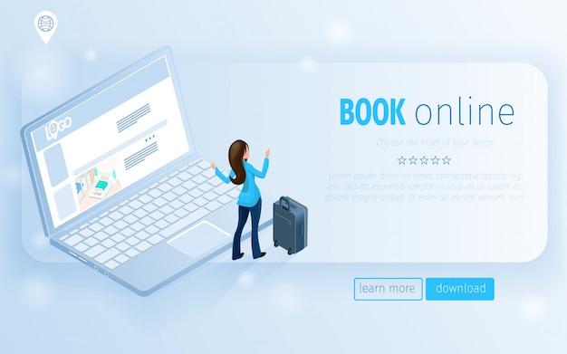 Frauentourist mit gepäck-notizbuch-landing page