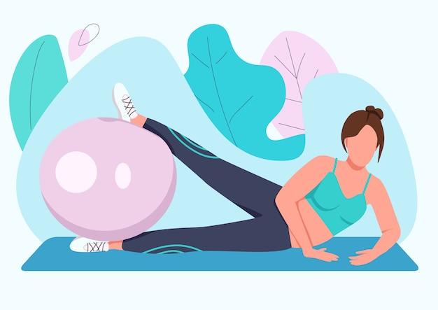 Frauentraining mit stabilitätsball flacher farbe gesichtsloser charakter