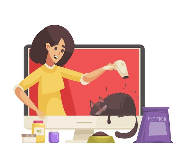 Frauenvideobloggerin, die über tierpflegekarikatur erzählt