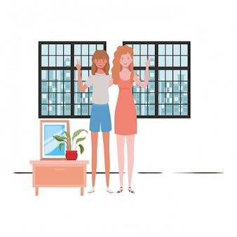 Frauenwohnzimmer mit ansicht die stadt durch fenster