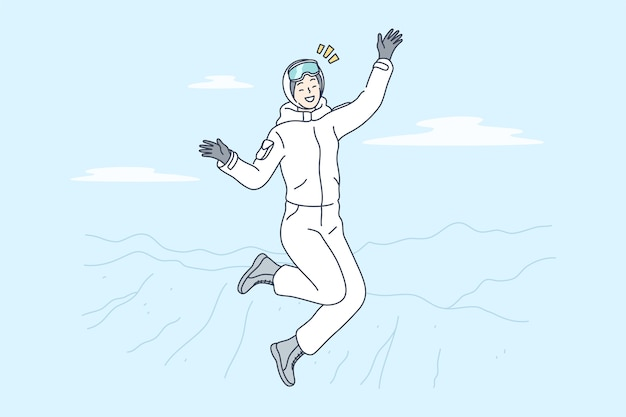 Frauenzeichentrickfigur, die auf berggipfel springt