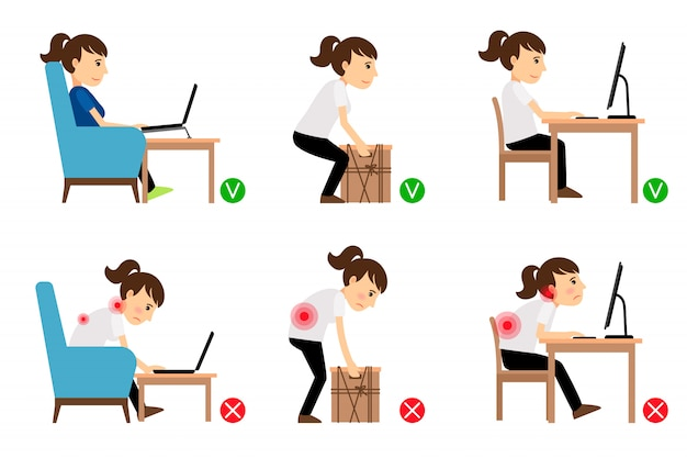 Frauenzeichentrickfilm-figur sitzen und arbeiten