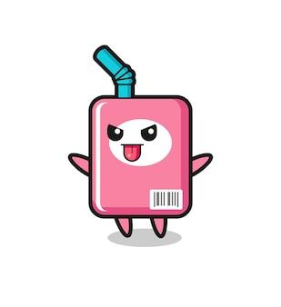 Freche milchbox-figur in spöttischer pose, süßes design für t-shirt, aufkleber, logo-element
