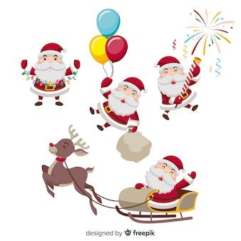 Frecher weihnachtsmann, der mit geschenken spielt
